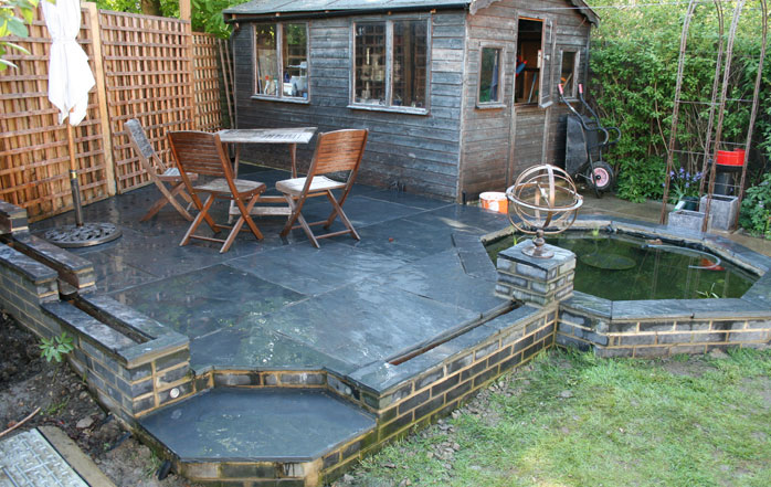 Patios decking in chingford london for Garden decking with pond